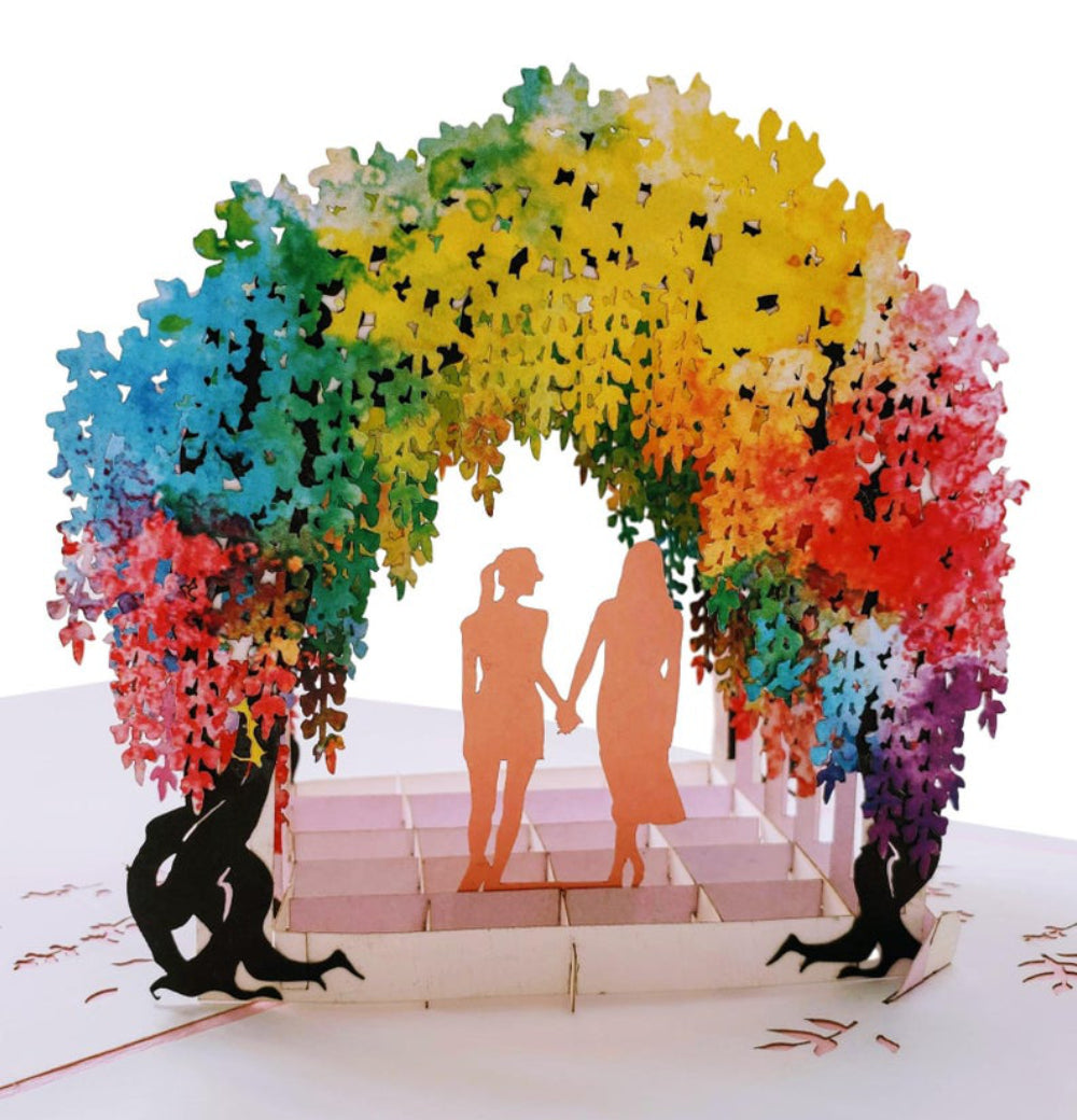 Lesbian Wisteria Flower Tunnel 3D Pop Up Greeting Card 1 front