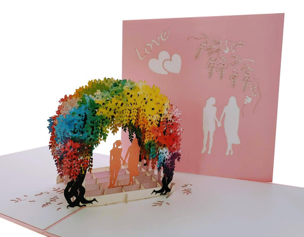 Lesbian Wisteria Flower Tunnel 3D Pop Up Greeting Card 2