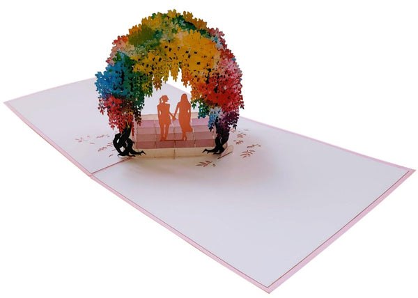 Lesbian Wisteria Flower Tunnel 3D Pop Up Greeting Card 3