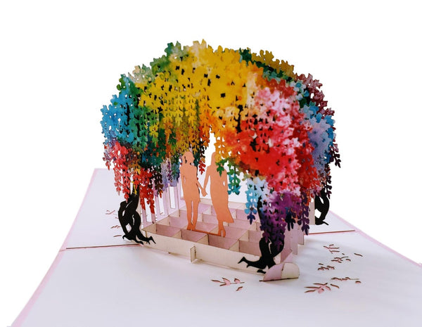 Lesbian Wisteria Flower Tunnel 3D Pop Up Greeting Card 5