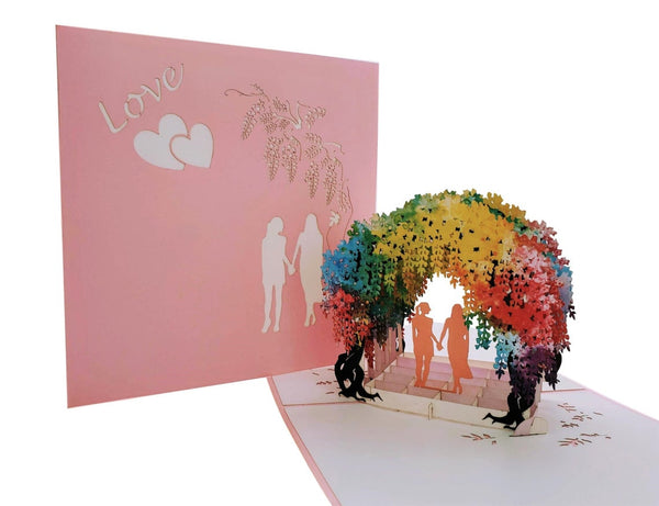 Lesbian Wisteria Flower Tunnel 3D Pop Up Greeting Card 7