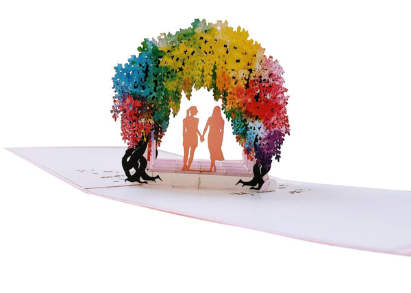 Lesbian Wisteria Flower Tunnel 3D Pop Up Greeting Card 8