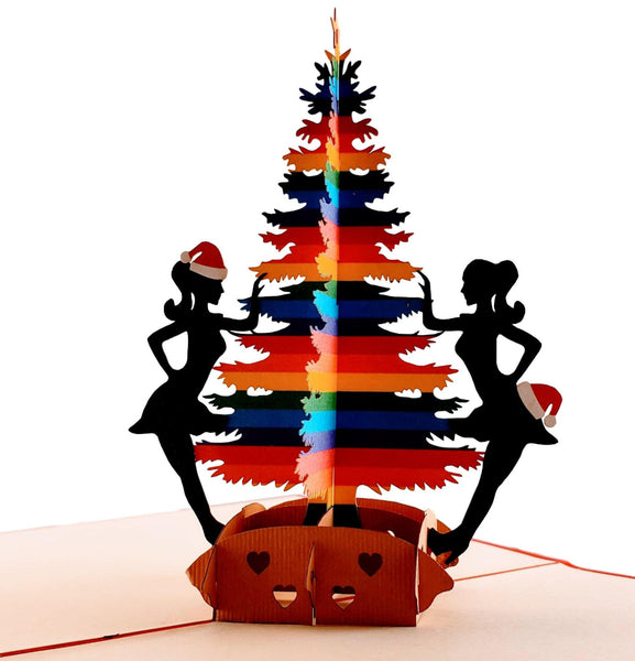 Lesbian Christmas 3D Pop Up Greeting Card 1 front