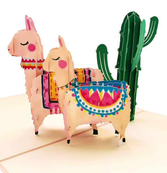 Llama Family 3D Pop Up Greeting Card 1 front