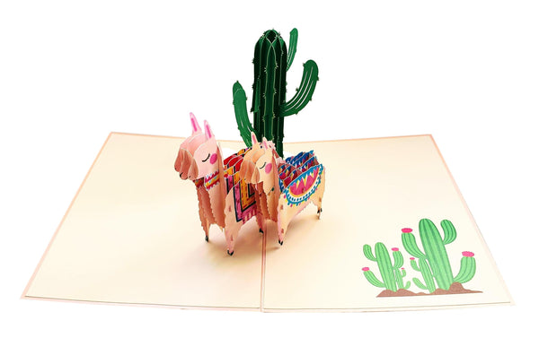 Llama Family 3D Pop Up Greeting Card 2