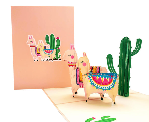 Llama Family 3D Pop Up Greeting Card 3