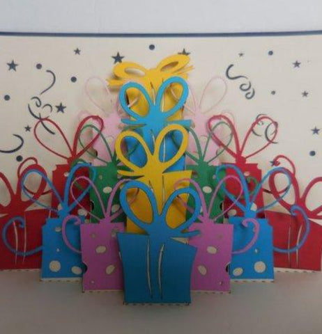 Lots of Presents (Blue) 3D Pop Up Greeting Card 1 front