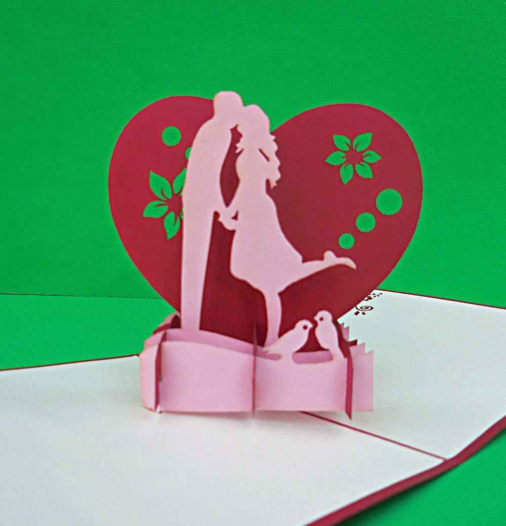 Lovers in Heart 3D Pop Up Greeting Card 1