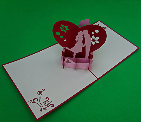 Lovers in Heart 3D Pop Up Greeting Card 2