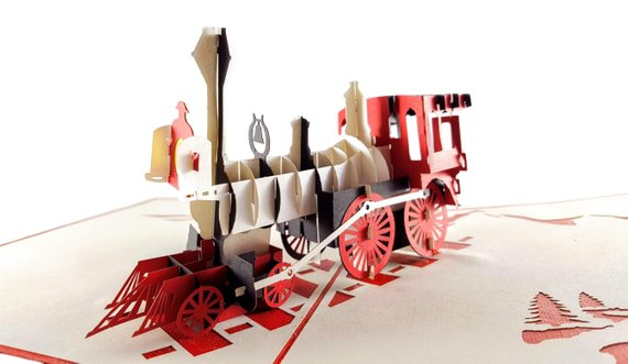 Magical Christmas Steam Train 3D Pop Up Greeting Card 4