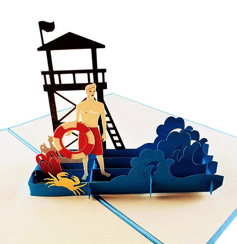 Male Lifeguard on Duty 3D Pop Up Greeting Card 1 front