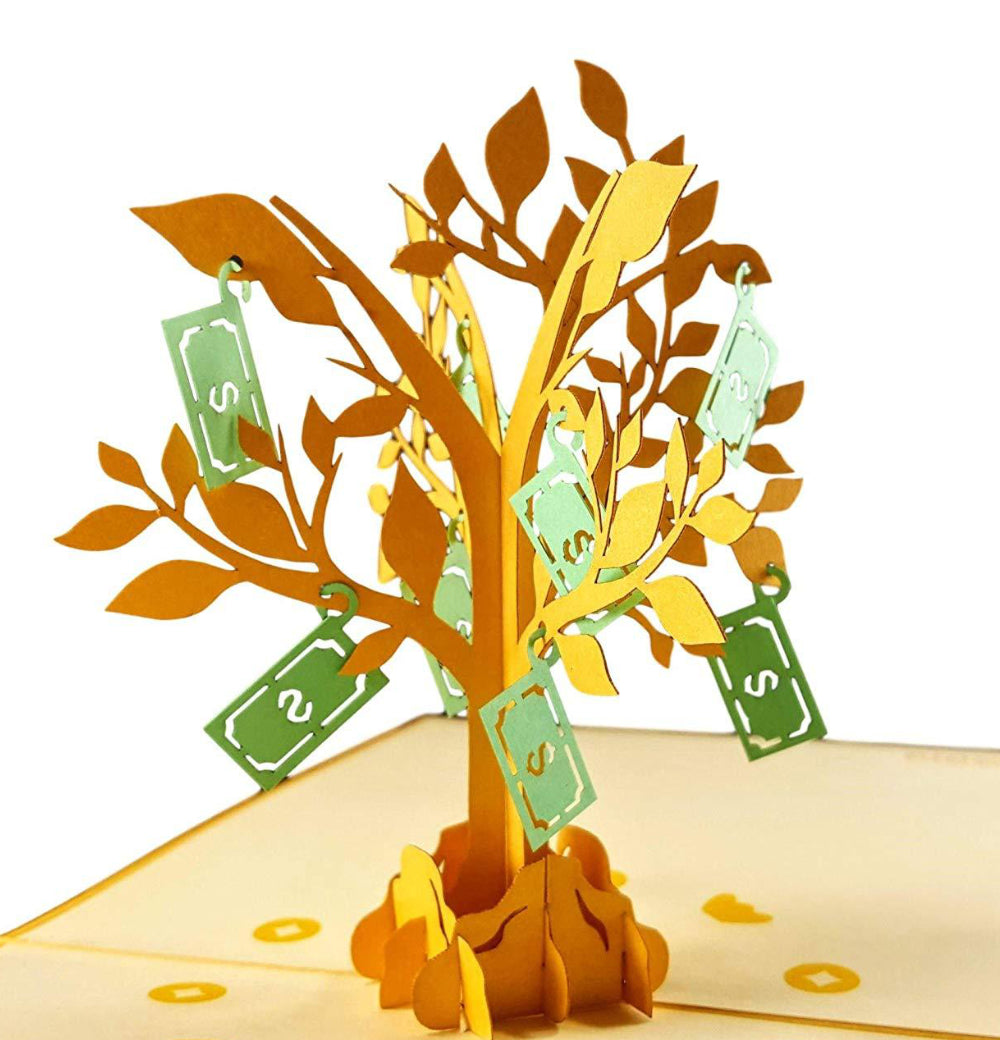 Money Tree 3D Pop Up Greeting Card 1 front