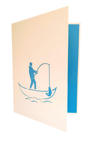 Mountain Lake Fishing 3D Pop Up Greeting Card