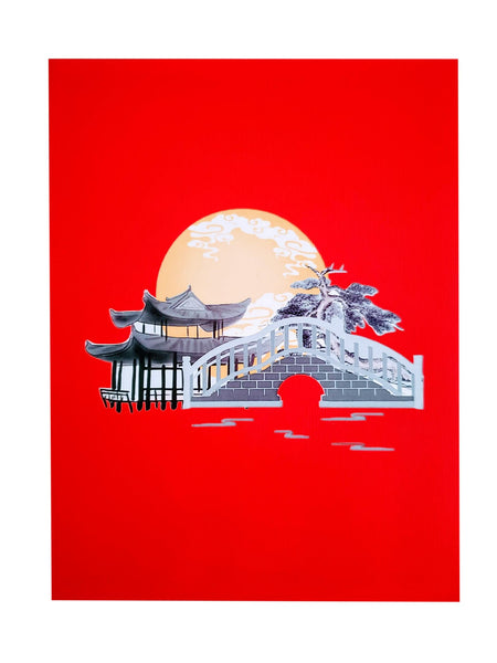 Asian Pavilion Scenery 3D Pop Up Greeting Card