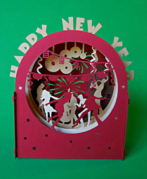New Year (Red) 3D Pop Up Centerpiece 3