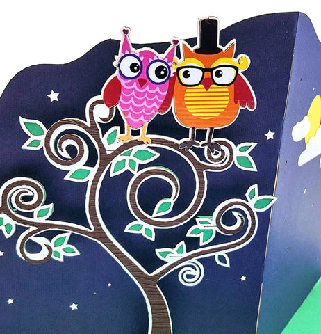 Night Owls 3D Pop Up Greeting Card 1
