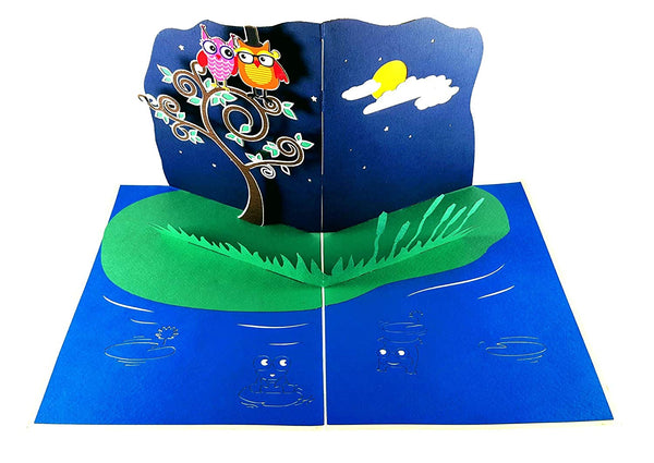 Night Owls 3D Pop Up Greeting Card 2