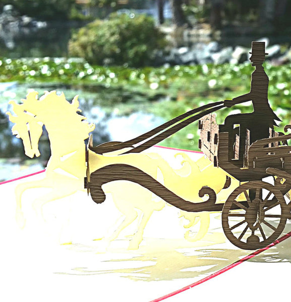 Open Carriage 3D Pop Up Greeting Card 1