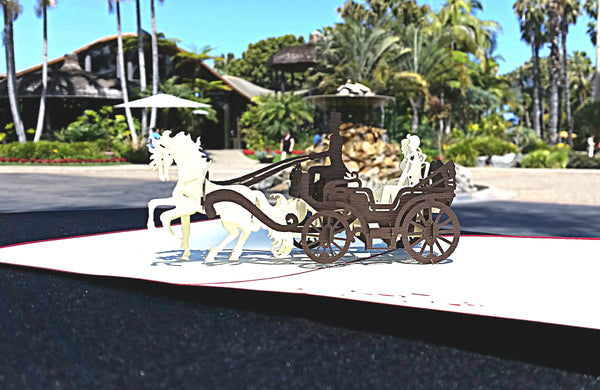 Open Carriage 3D Pop Up Greeting Card 3