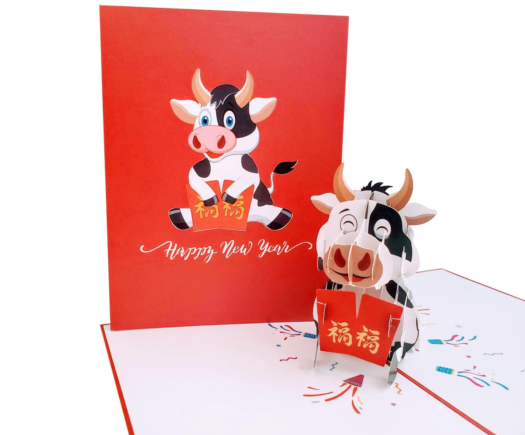 Happy Ox New Year 3D Pop Up Greeting Card