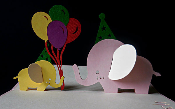 Pink Birthday Elephants 3D Pop Up Greeting Card 2