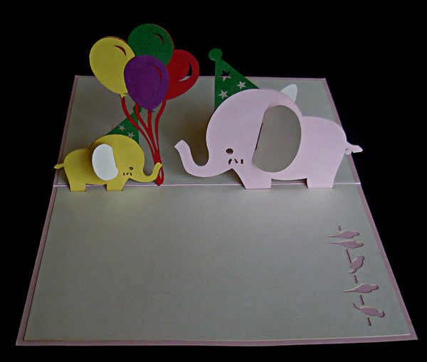 Pink Birthday Elephants 3D Pop Up Greeting Card 3