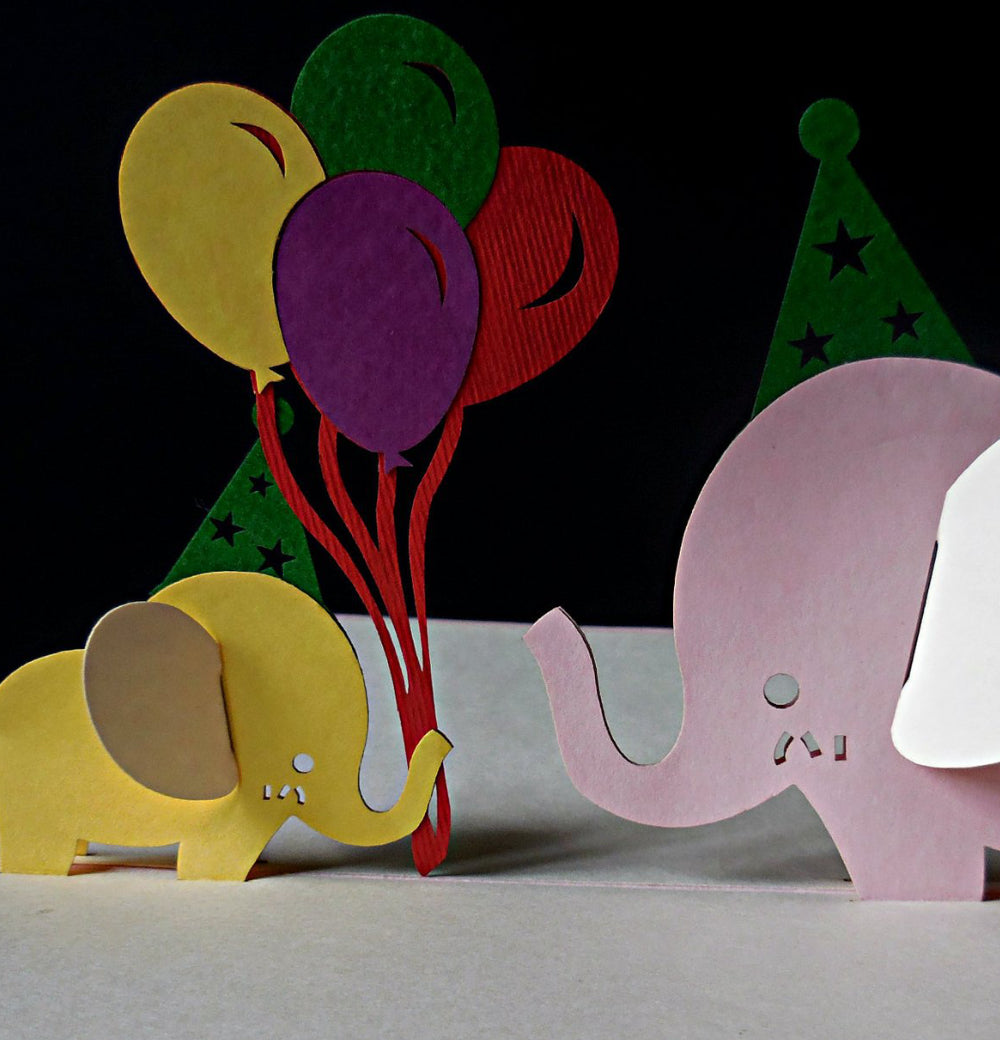 Pink Birthday Elephants 3D Pop Up Greeting Card 1