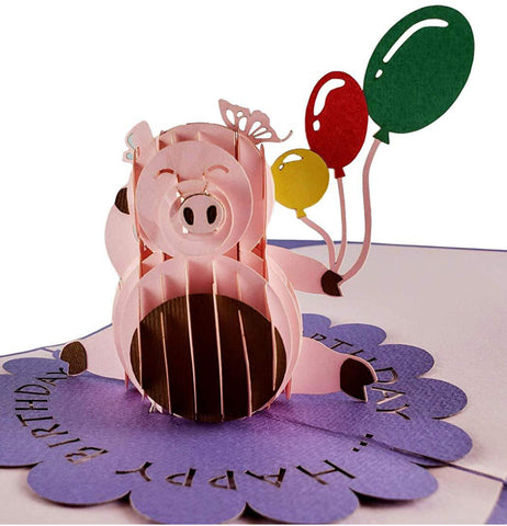 Pink Pig with Balloons Birthday 3D Pop Up Greeting Card 1 front