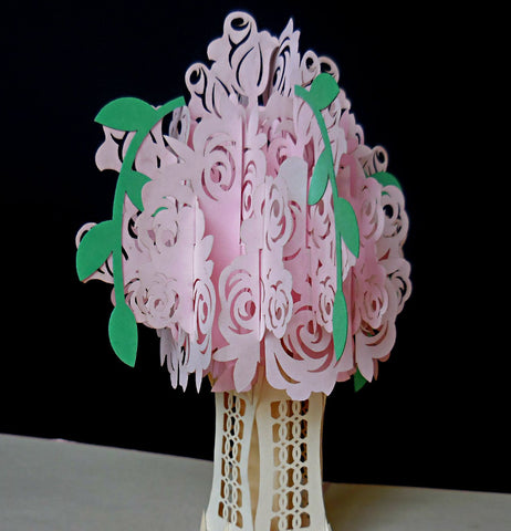 Pink Rose Bouquet 3D Pop Up Greeting Card 1 front