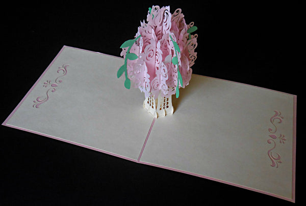 Pink Rose Bouquet 3D Pop Up Greeting Card 2