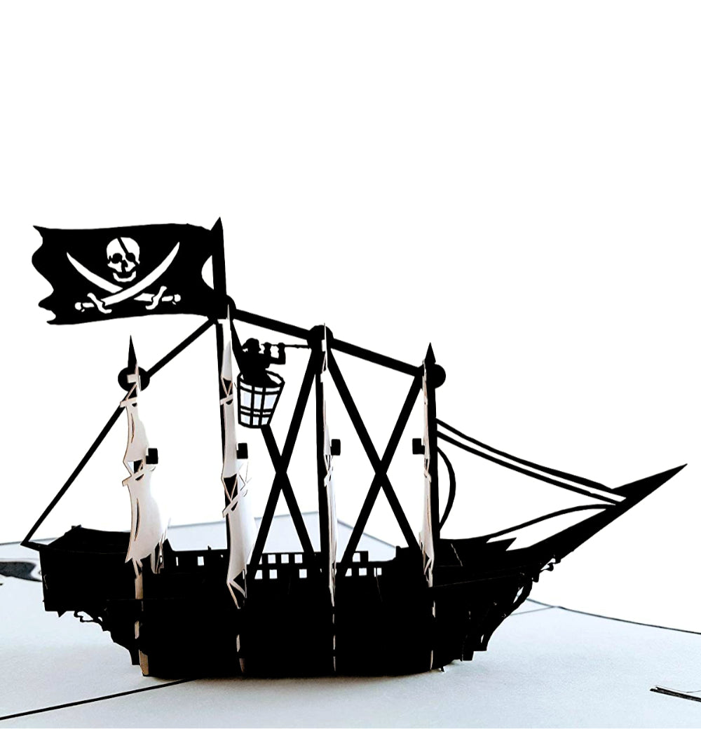 Pirate Ship 3D Pop Up Greeting Card 1