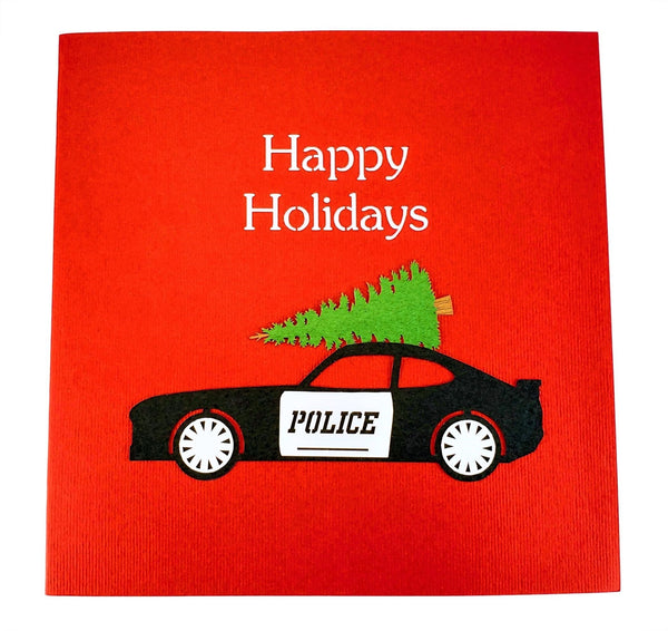 Police Car And Christmas Tree 3D Pop Up Greeting Card 10