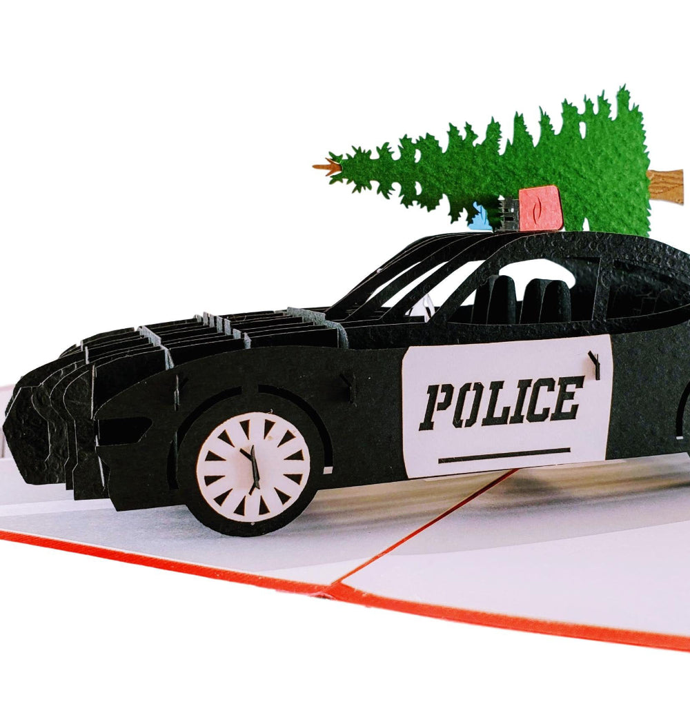 Police Car And Christmas Tree 3D Pop Up Greeting Card 1 front