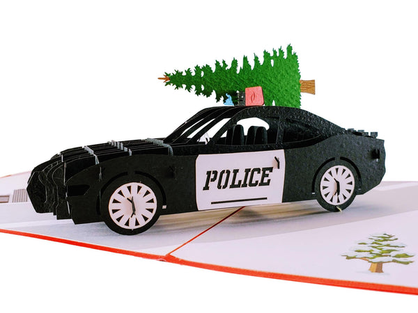 Police Car And Christmas Tree 3D Pop Up Greeting Card 1