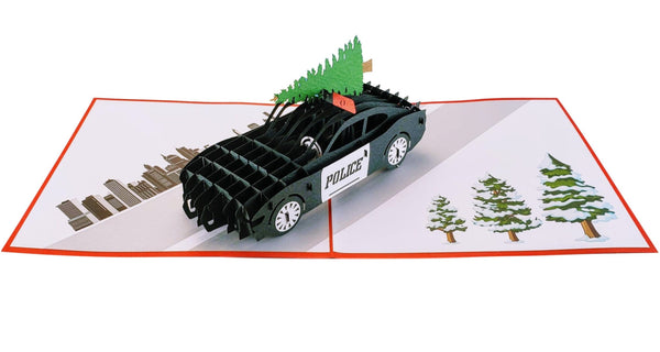 Police Car And Christmas Tree 3D Pop Up Greeting Card 2