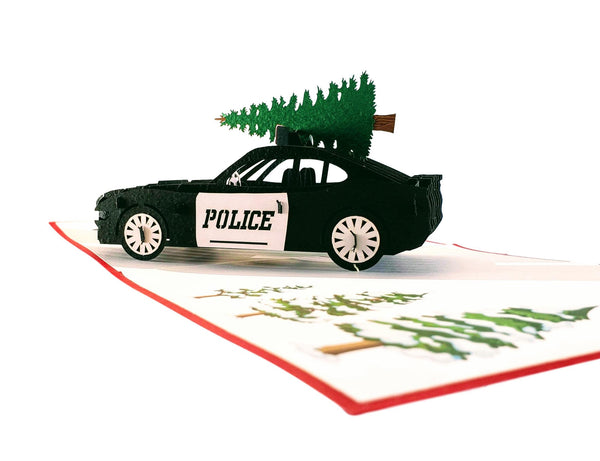 Police Car And Christmas Tree 3D Pop Up Greeting Card 3