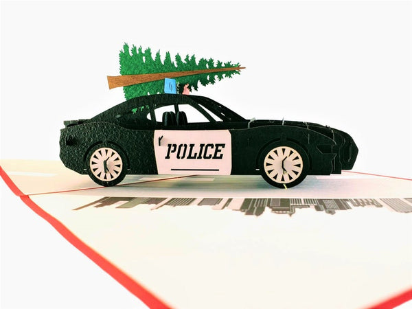 Police Car And Christmas Tree 3D Pop Up Greeting Card 4