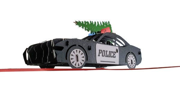 Police Car And Christmas Tree 3D Pop Up Greeting Card 5