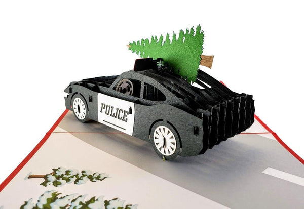 Police Car And Christmas Tree 3D Pop Up Greeting Card 6