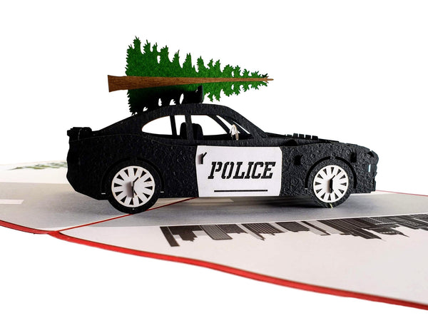 Police Car And Christmas Tree 3D Pop Up Greeting Card 7