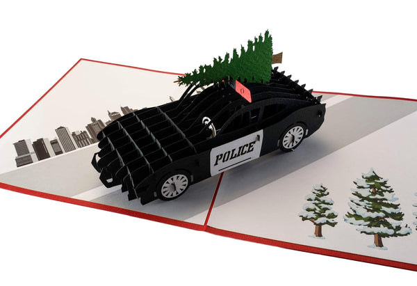 Police Car And Christmas Tree 3D Pop Up Greeting Card 8
