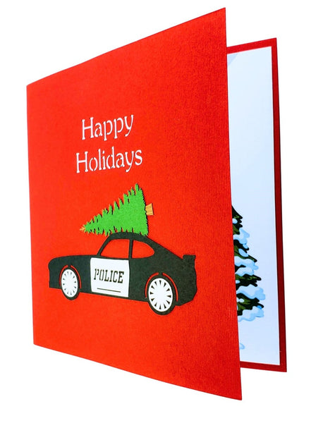 Police Car And Christmas Tree 3D Pop Up Greeting Card 9