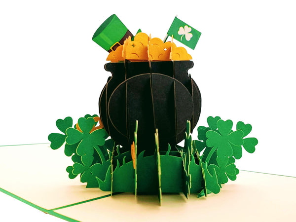 Pot of Gold 3D Pop Up Greeting Card - St. Patrick's Day, Cool, Unique, Irish, Green, Four-Leaf, St. Paddy's, Celebration, Shamrock, Lucky