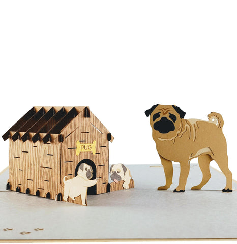 Pug Family 3D Pop Up Greeting Card 1 front