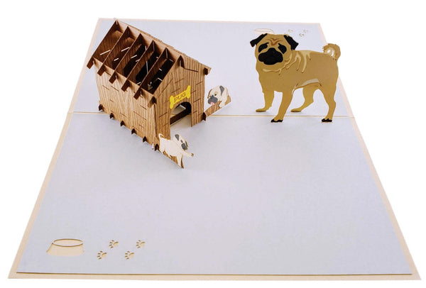 Pug Family 3D Pop Up Greeting Card 2