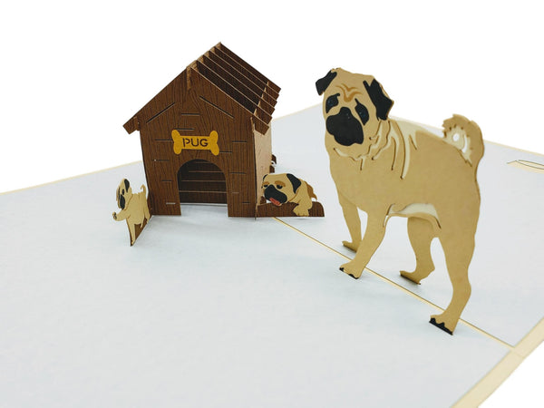 Pug Family 3D Pop Up Greeting Card 3