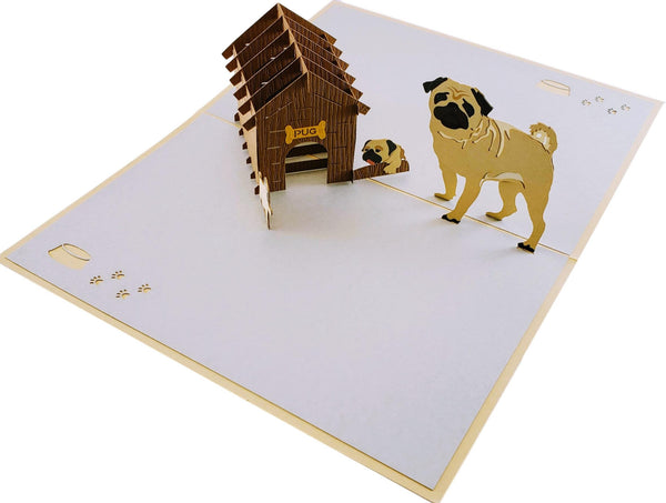 Pug Family 3D Pop Up Greeting Card 4
