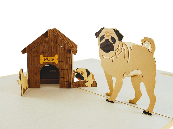 Pug Family 3D Pop Up Greeting Card 5