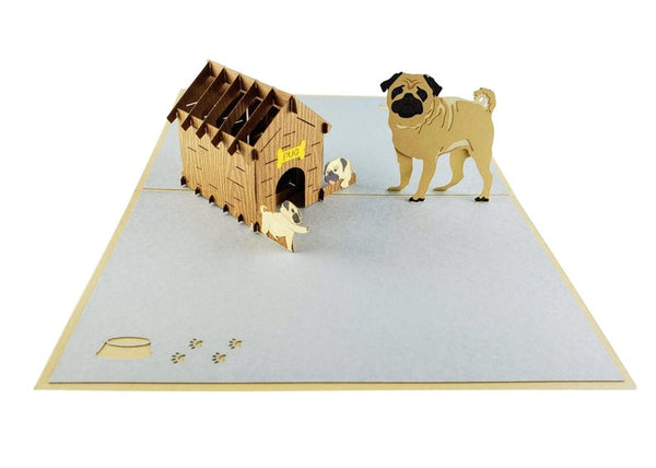 Pug Family 3D Pop Up Greeting Card 7