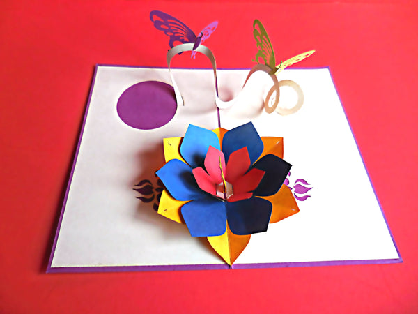 Purple Butterflies 3D Pop Up Greeting Card 2